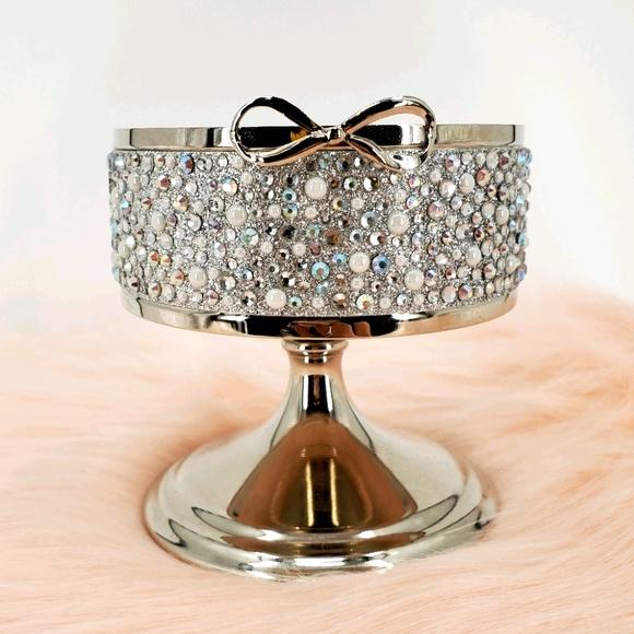 Rhinestone Glitter Silver Bow 3-Wick Candle Holder